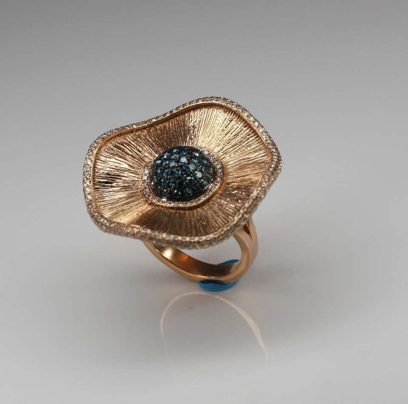 18 Karat Rose Gold Multi Blue and White Diamond Ring