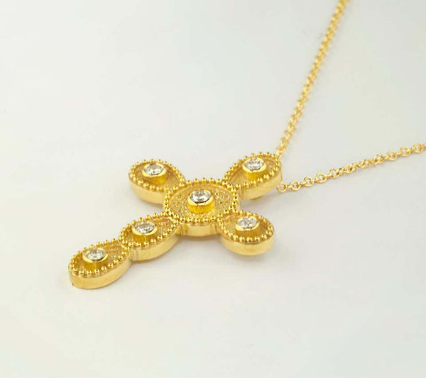 18 Karat Yellow Gold Diamond Byzantine Style Cross Necklace
