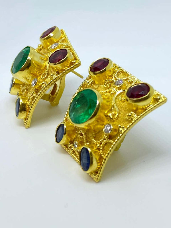 18 Karat Yellow Gold Emerald Diamond Ruby Sapphire Earrings
