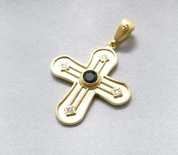 18 Karat Yellow Gold Diamond and Sapphire Geometric Cross