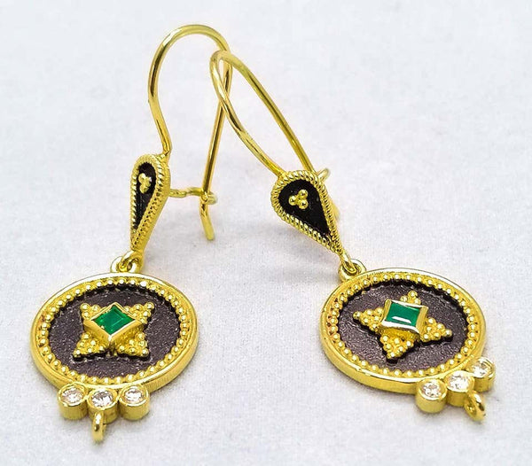 18 Karat Yellow Gold Diamond Emerald Two-Tone Drop Earrings