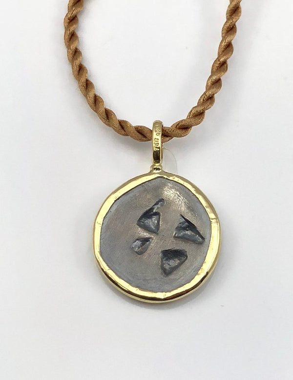 18 Karat Gold Pendant Necklace with Silver Coin with Amphora