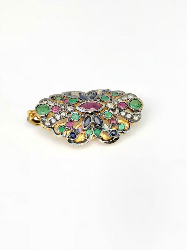 18 Karat Gold Diamond Pendant with Sapphires Rubies Emerald