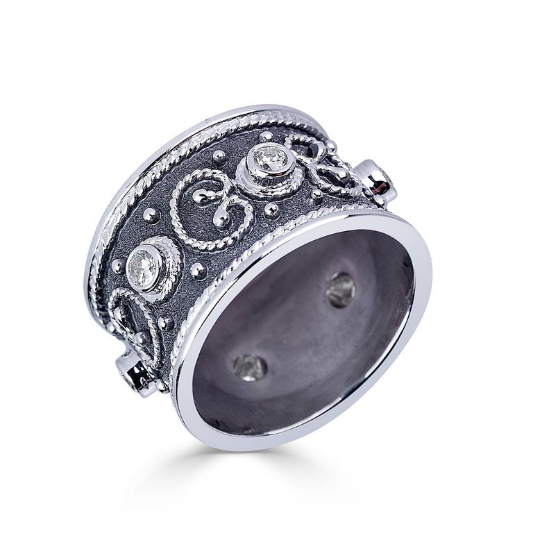 18 Karat White Gold Diamond Band Ring with Black Rhodium