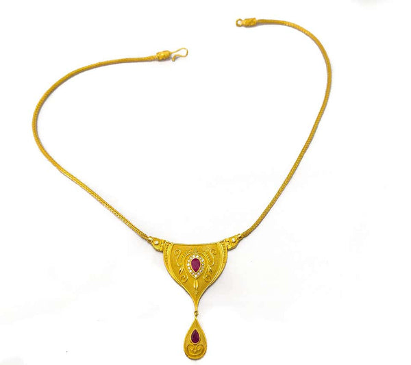 18 Karat Yellow Gold Diamond Ruby Dangle Drop Necklace