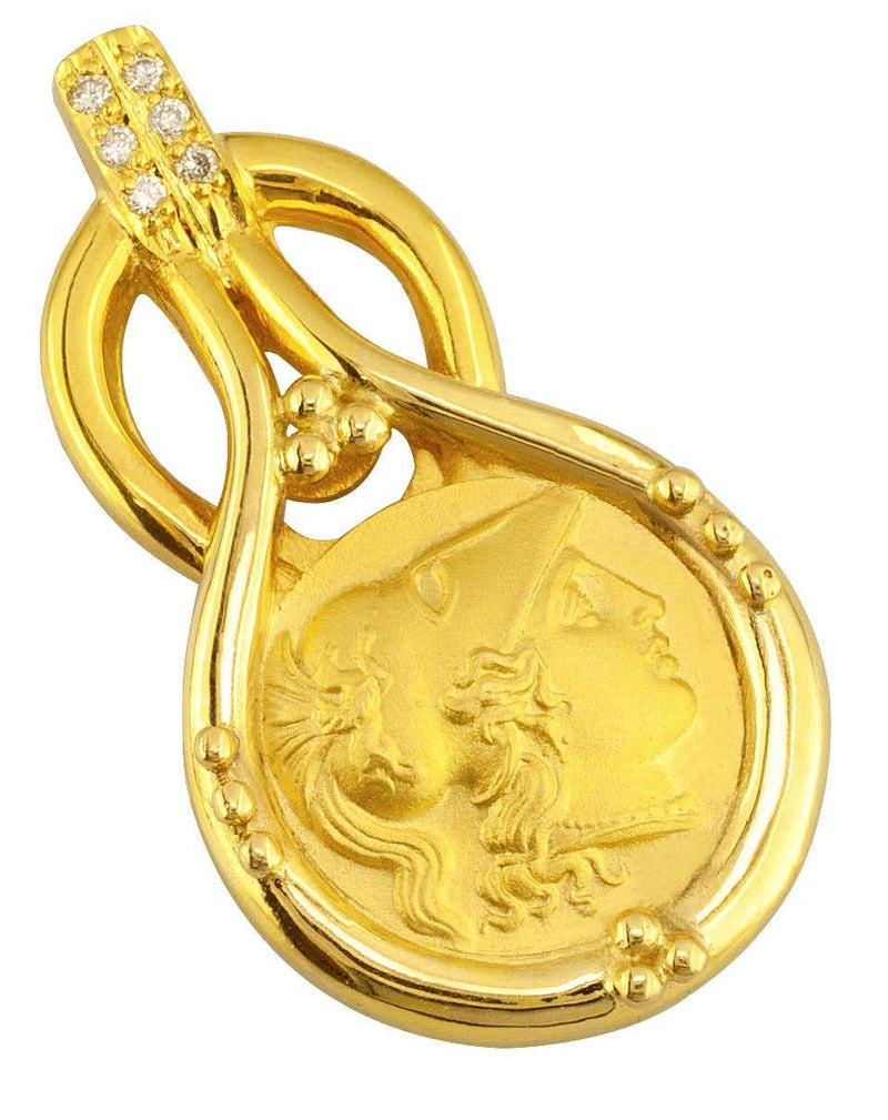 18 Karat Gold Diamond Coin Pendant of Goddess Athena