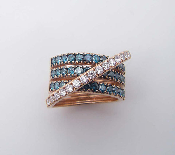 18 Karat Rose Gold Blue and White Diamond Wide Band Ring