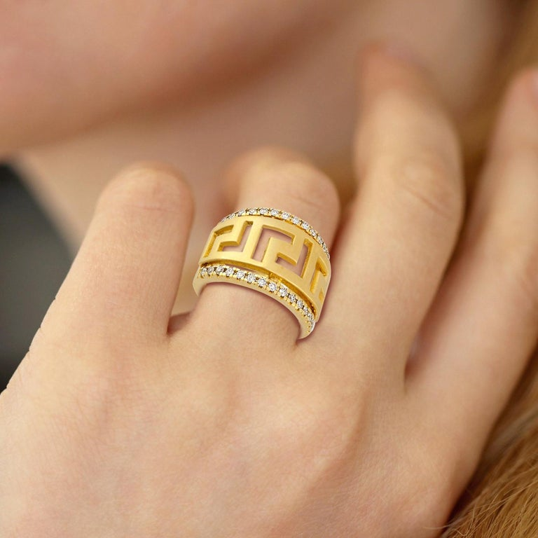 18 Karat Yellow Gold Diamond Ring with the Greek Key Design