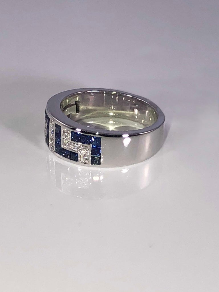 18 Karat White Gold Diamond and Sapphire Greek Key Ring
