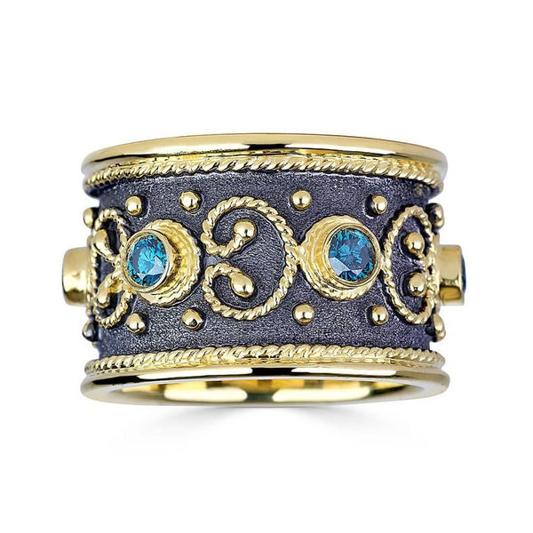 18 Karat Yellow Gold Diamond Band Ring with Blue Diamonds