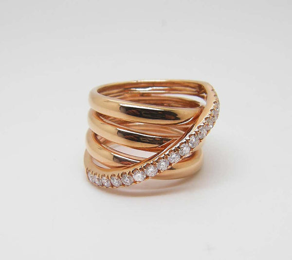 18 Karat Rose Gold Brilliant Cut Diamond Spiral Band Ring
