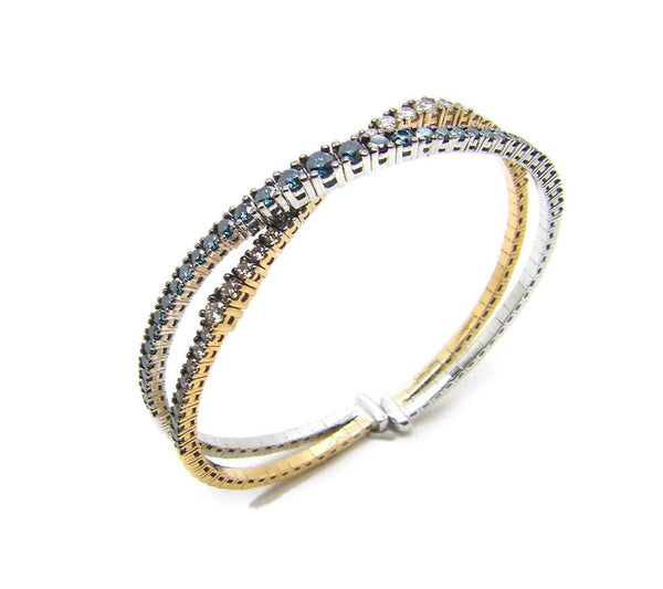 18 Karat White Rose Gold Bracelet with Blue Brown Diamonds