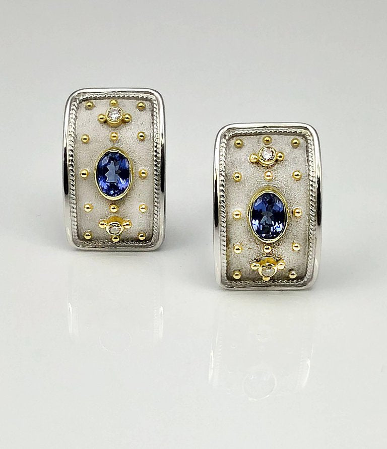 18 Karat White and Yellow Gold Tanzanite Diamond Earrings