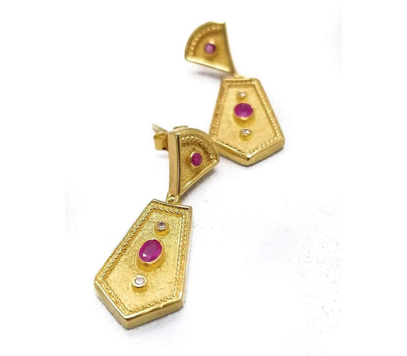 18 Karat Yellow Gold Diamond Ruby Etruscan-Style Earrings
