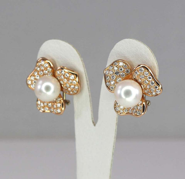 18 Karat Rose Gold South Sea Pearl and Diamond Earrings