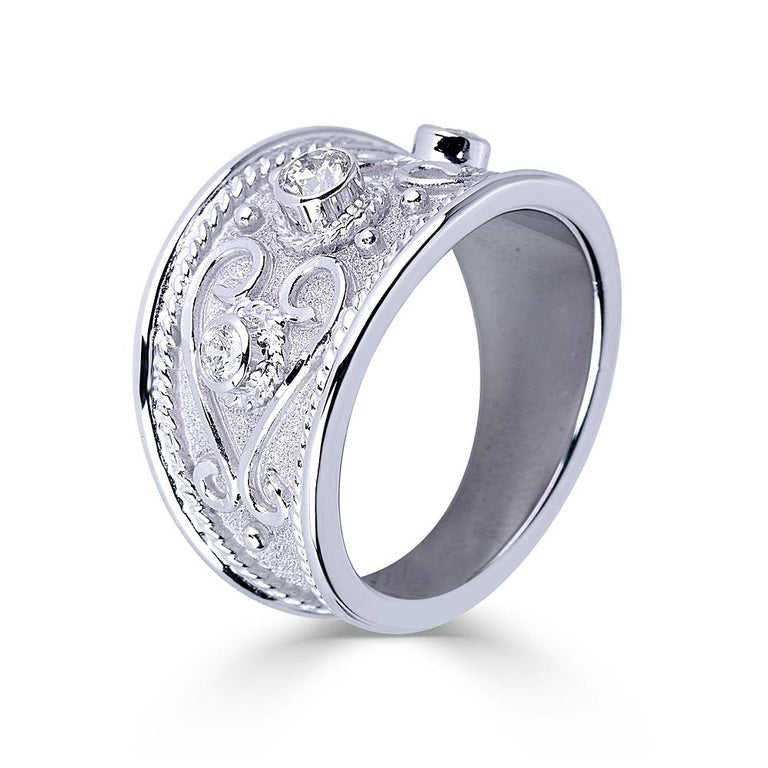 18 Karat White Gold Diamond Byzantine Ring With Granulation
