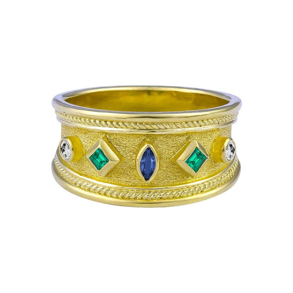 18 Karat Yellow Gold Emerald Sapphire and Diamond Ring