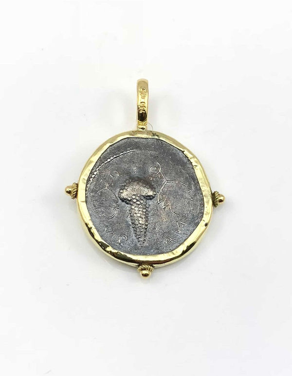 18 Karat Gold Pendant Necklace with Silver Coin of Dionisos