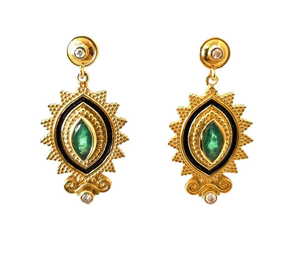 18 Karat Yellow Gold Diamond Emerald Two-Tone Earrings