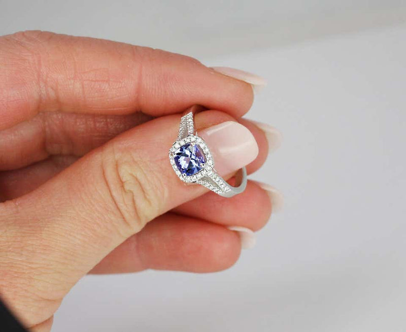 18 Karat White Gold Cushion Cut Tanzanite and Diamond Ring