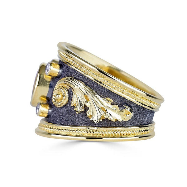 18 Karat Gold Diamond Ring with Sapphire and Black Rhodium
