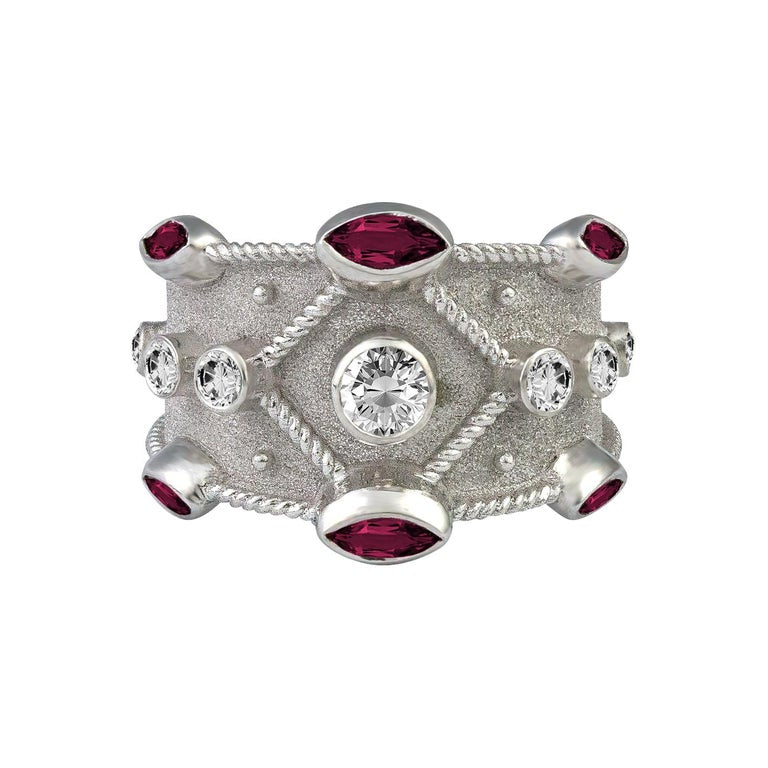 18 Karat White Gold Diamond and Ruby Granulation Band Ring
