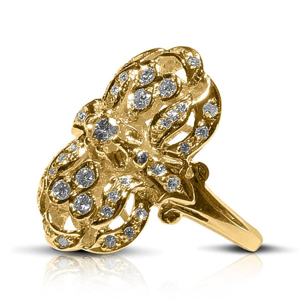 18 Karat Yellow Gold Diamond Byzantine Style Long Ring