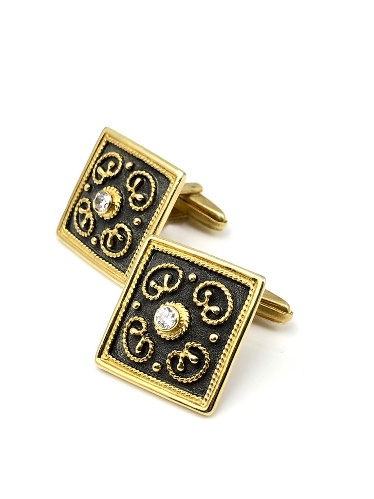 18 Karat Yellow Gold Byzantine Style Diamond Cufflinks