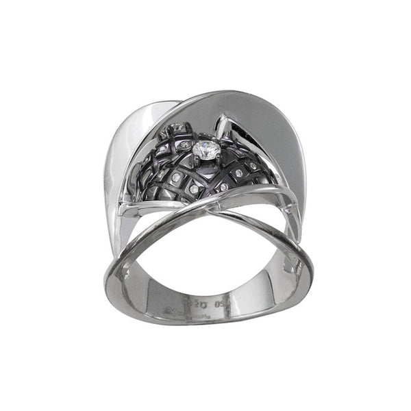 18 Karat White Gold Diamond Ring with Black Rhodium