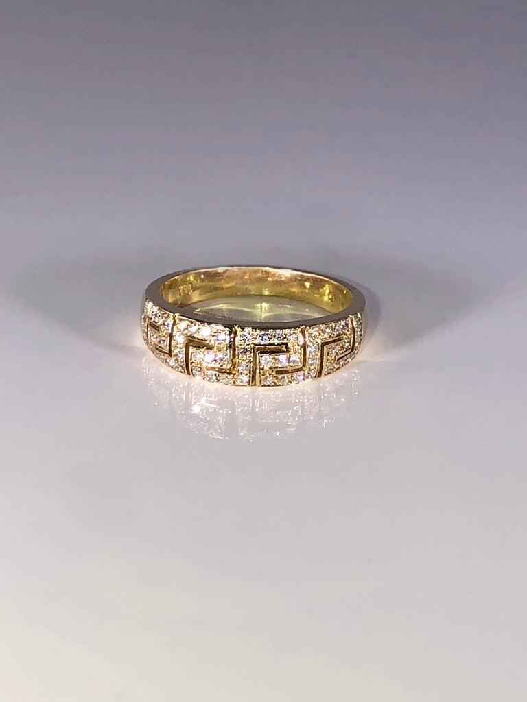 18 Karat Yellow Gold Diamond Greek Key Design Ring