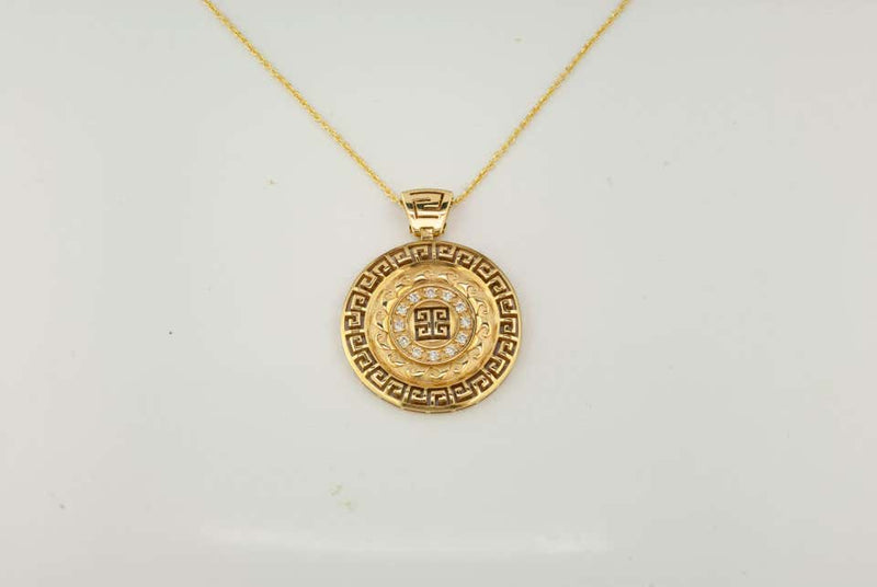 18 Karat Yellow Gold Round Diamond Grecian Pendant Necklace
