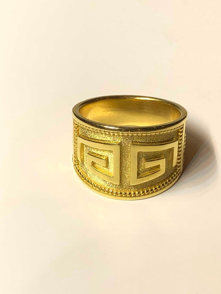 18 Karat Yellow Gold Greek Key Design Ring