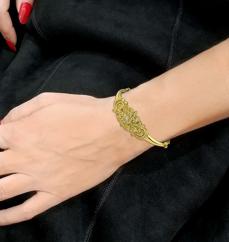 Georgios Collections 18 Karat Yellow Gold Vintage Style Diamond Bangle Bracelet