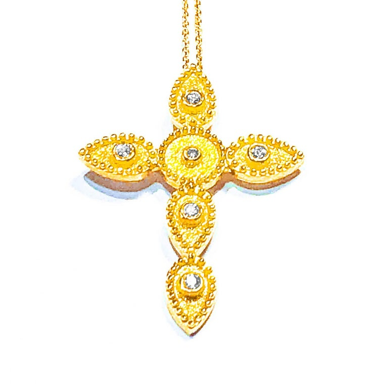 18 Karat Gold Diamond Cross With Chain and Granulation work