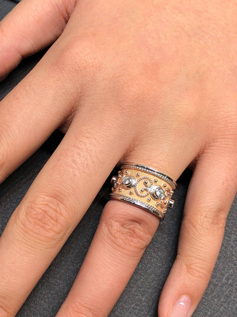 18 Karat White and Rose Gold Diamond Granulated Band Ring