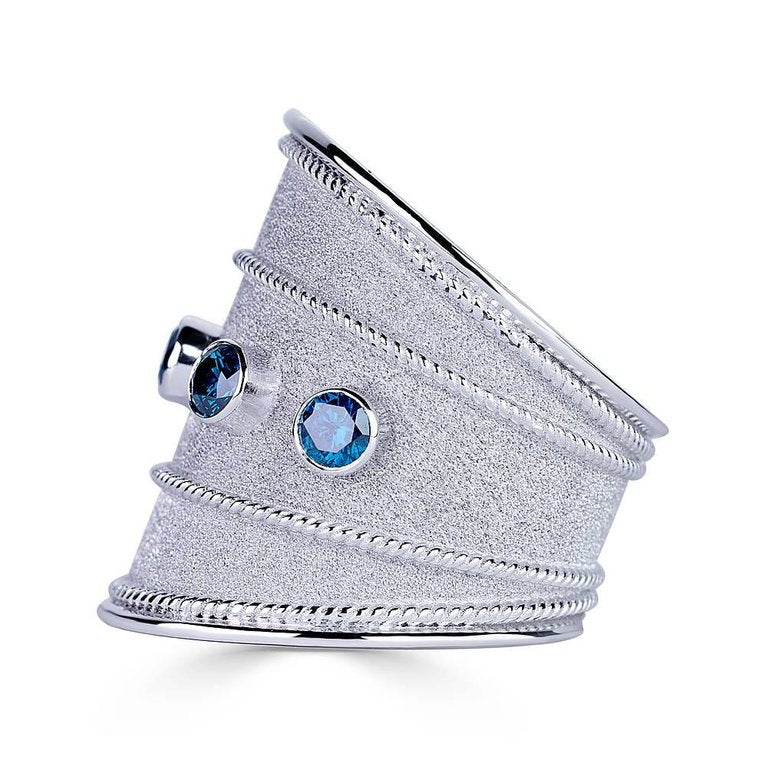 18 Karat White Gold Granulated Band Ring with Blue Diamonds