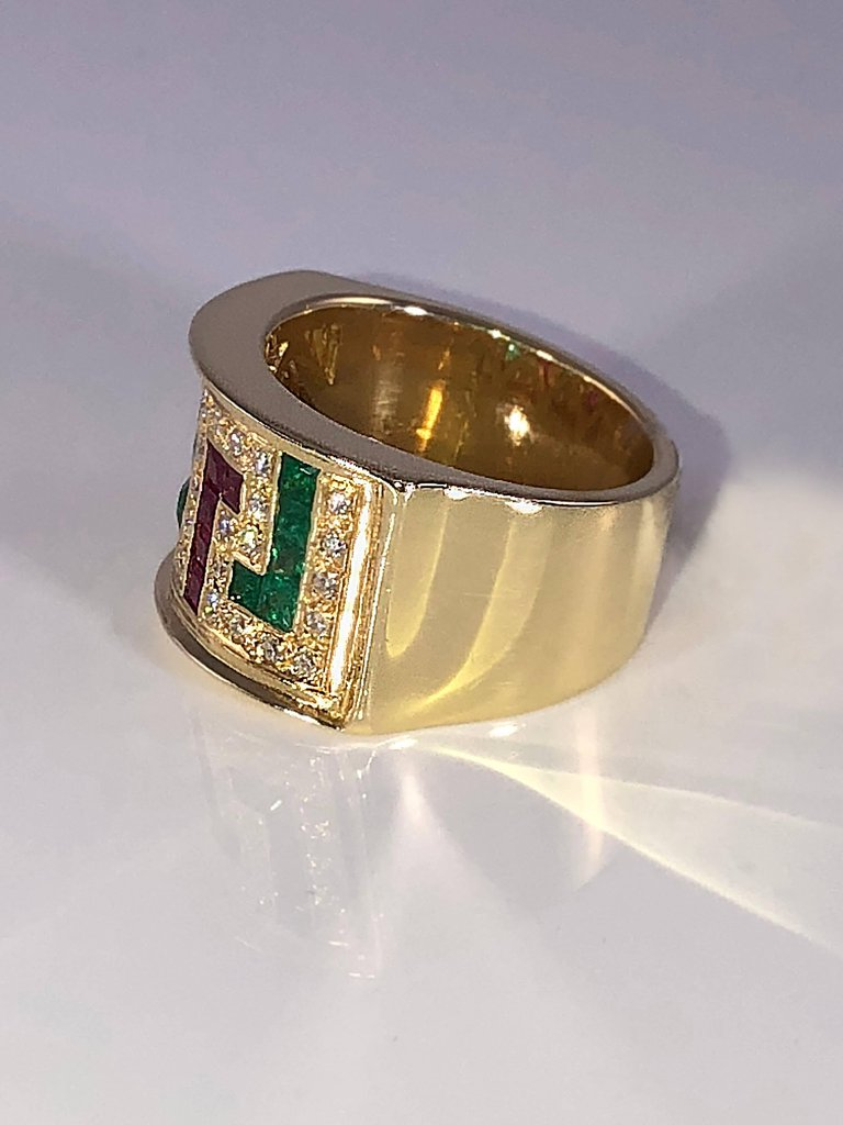 18 Karat Yellow Gold Diamond Ring with Rubies and Emeralds