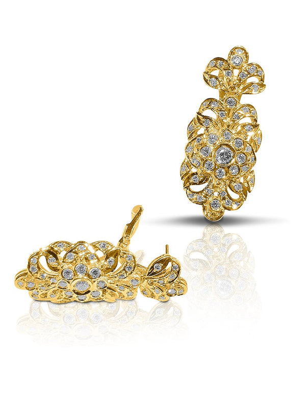 18 Karat Yellow Gold Diamond Byzantine Style Drop Earrings