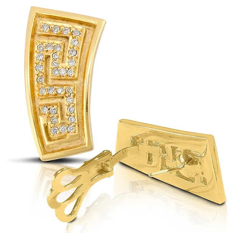 18 Karat Yellow Gold Diamond Earrings the Greek Key Design