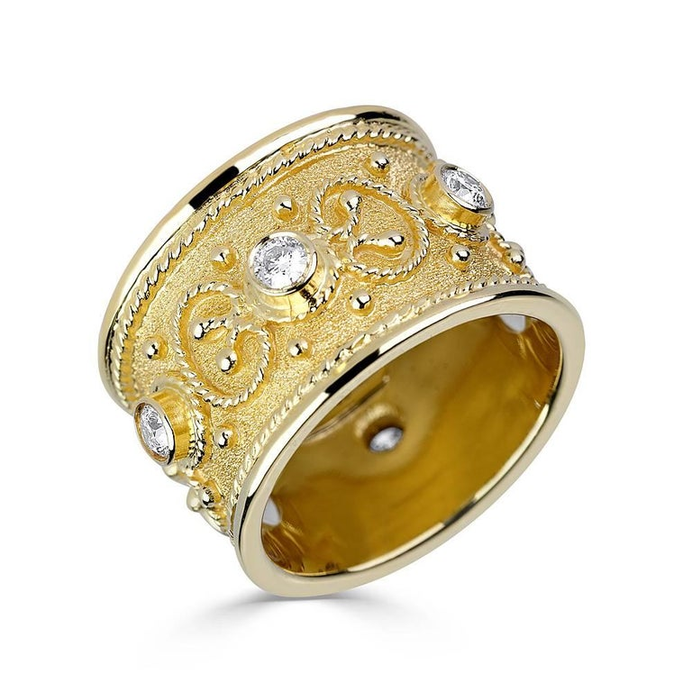 18 Karat Yellow Gold Diamond Granulated Custom Band Ring
