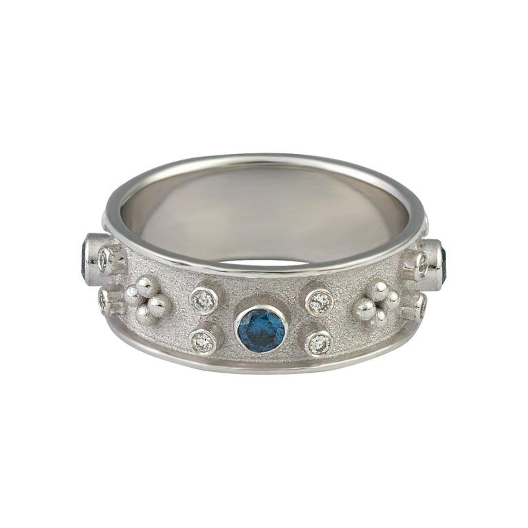 18 Karat White Gold White and Blue Diamond Band Ring