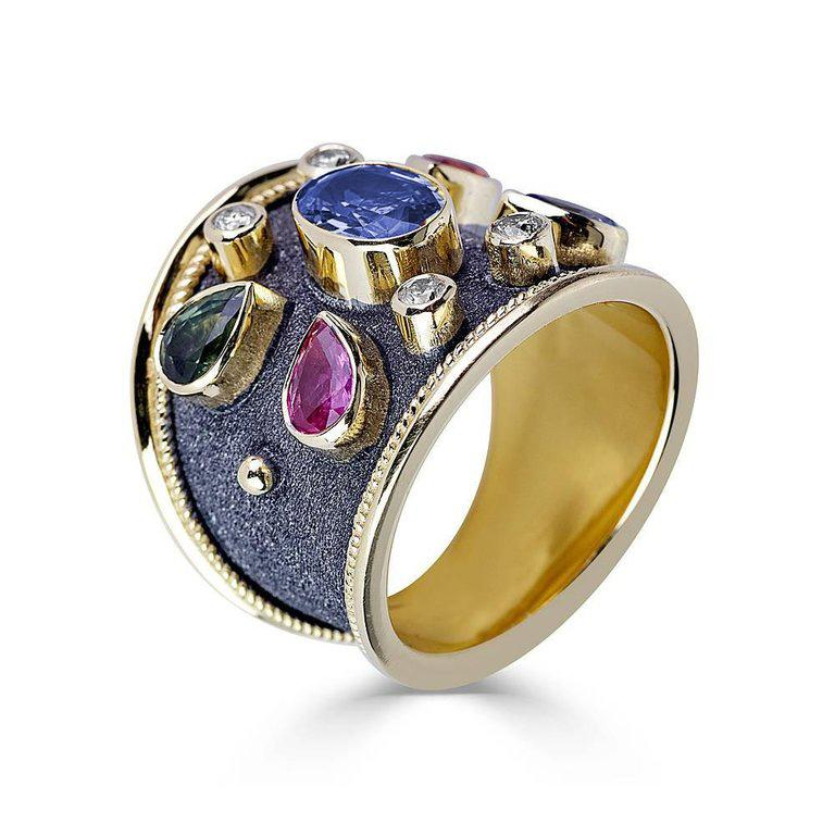 18 Karat Yellow Gold Multicolor Sapphire and Diamond Ring