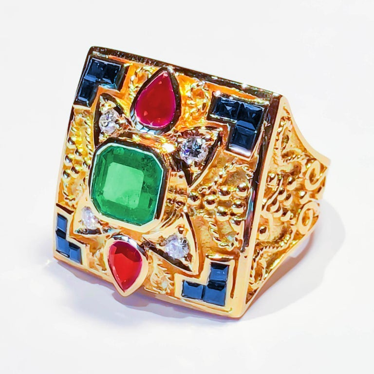 18 Karat Yellow Gold Emerald Ring with Sapphires And Rubies