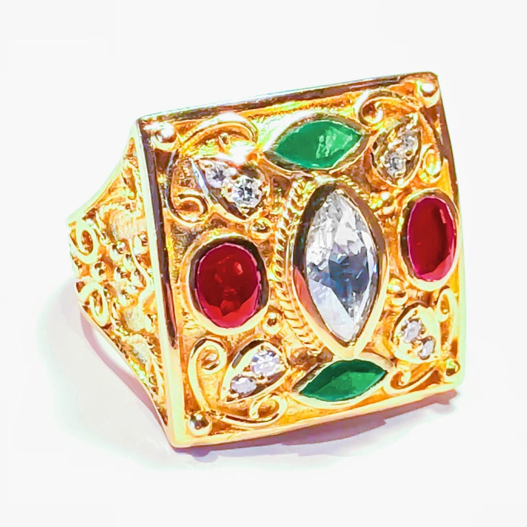 18 Karat Yellow Gold Diamond Ring With Emeralds and Rubies