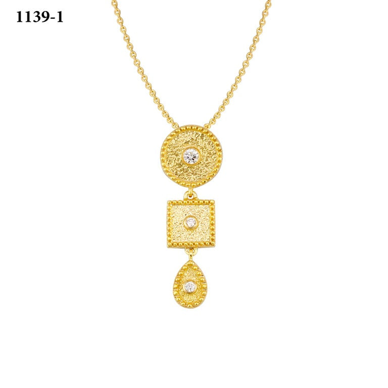 18 Karat Yellow Gold Diamond Pendant With Granulation Work