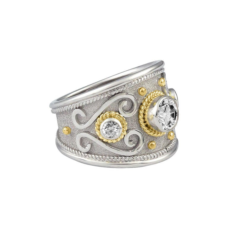 18 Karat White and Yellow Gold Diamond Granulated Ring