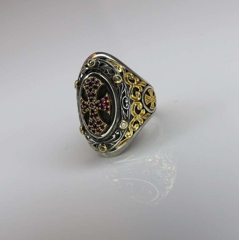 18 Karat Gold and Silver Ring with Diamonds and Ruby Cross