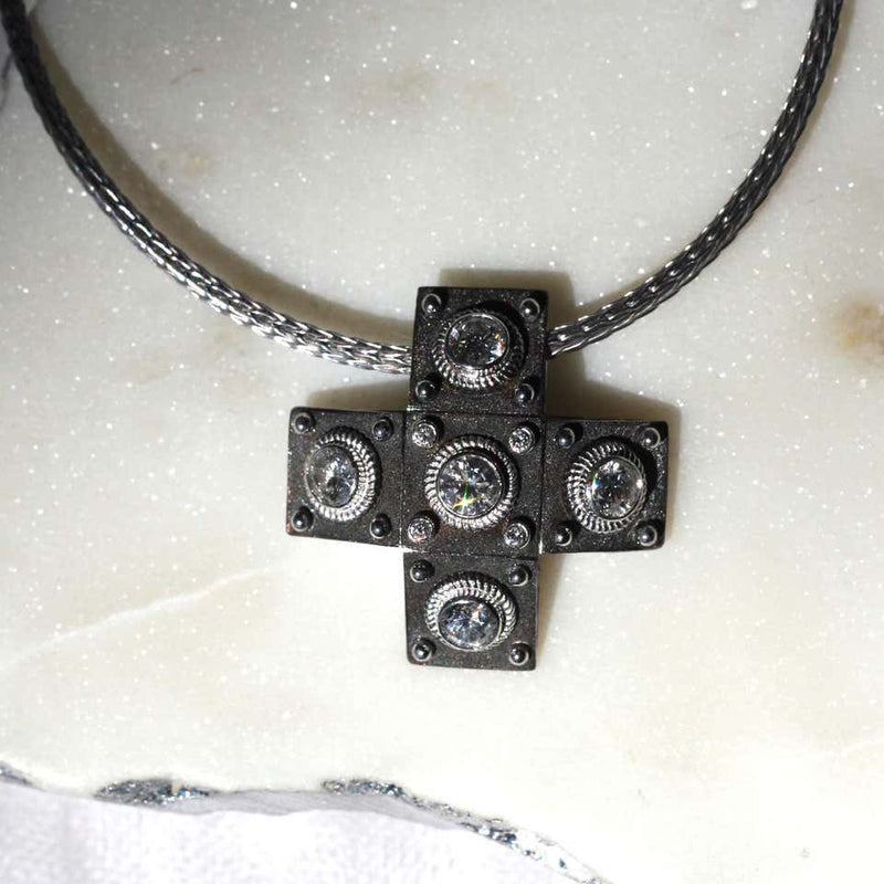 18 Karat White Gold Diamond Cross with Rope Necklace