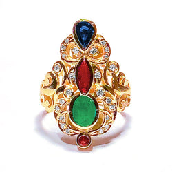 18 Karat Yellow Gold Diamond Emerald Ruby Sapphire Ring
