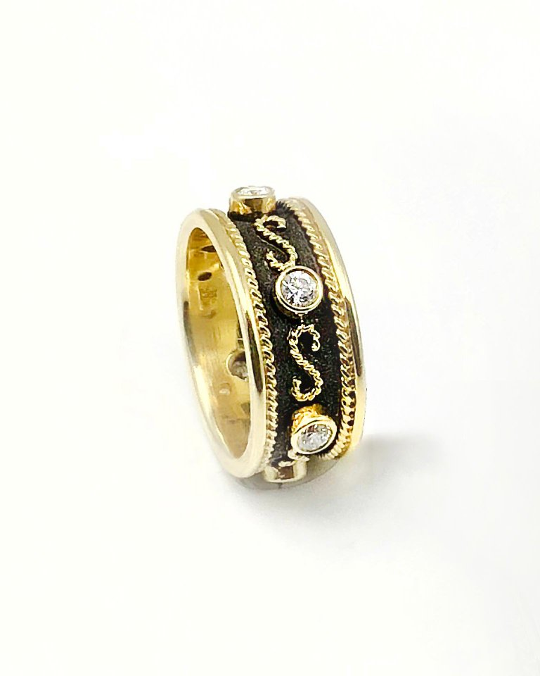 18 Karat Gold Two Tone Diamond Eternity Band Ring